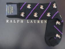 Polo RALPH LAUREN Bulldog Black and Purple Striped Socks Mercerized Cotton