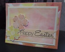 "DIY Stampin Up ""Happy Easter"" Watercolor Bokeh, Flower Handmade Card Kit 4 cards"