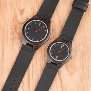 Bamboo Wooden Watch Leather Strap Quartz Analog Fashion Men Women Wristwatch