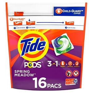 Tide PODS Liquid Laundry Detergent Pacs, Spring Meadow (16 ct World Shipping