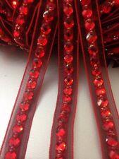 18mm rouge strass perle ruban bordure en dentelle pour multi artisanat fins 1 yards