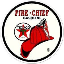 "Texaco Gasoline Fire Chief 12"" Round Tin Sign Nostalgic Metal Sign Retro Decor"