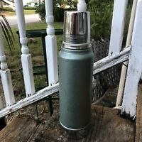 Vintage Green Stanley Thermos Tall Silver Metal Glass Insert Hot Cold 70s 80s