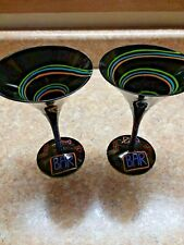 Set Of 2 Black Handpainted  Martini Drinking Glasses