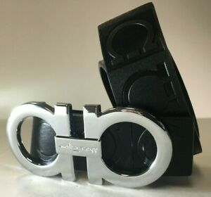 Salvatore Ferragamo Belt | Size 34 or 85cm | Black Leather | Silver Buckle | BH