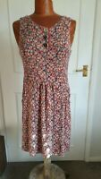 JOULES stretchy red orange & pink floral tunic pinaforec dress size 10  VGC