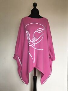 New ITALIAN LAGENLOOK Pink Oversized Abstract Face Print Top 18 20 22 24