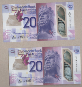 CLYDESDALE BANK  POLYMER £20 UNCIRCULATED  PREFIX W/LZ 914737-914750 FREEPOST UK