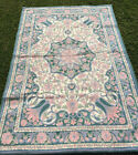 Star of Kashmir Chain Stitched pastel wall hanging or rug 71x 49