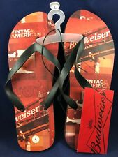 "NEW ! Men's Budweiser Red/Black Flip Flops - Size Large - ""Vintage American"""