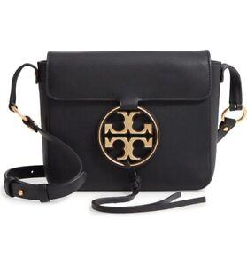 NWT Tory Burch Metal Miller Logo Leather Flap Crossbody Bag BLACK AUTHENTIC
