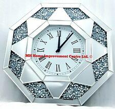 Wanduhr Diamant Zerdrücken Kristall Glitzer Silber Verspiegelt Groß Abgeschrägt