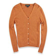 Brooks Brothers Sweater Twinset Womens Size M Cashmere Silk Orange V Neck Button