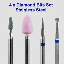 4 x Diamond Bits Drills Fresas Burs for dry manicure Stainless Steel size 3/32