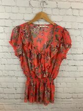 Poetry Orange Floral V-Neck with Ruffles Details Cap Sleeve Blouse Size Large