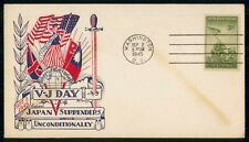 US 1945 V-J Day Japan Surrenders Unconditionally Military Washington DC Cover ww