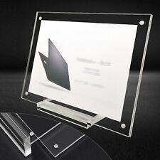 Business Card Holder Freestanding Acrylic Transparent Desk Display Photo Frame