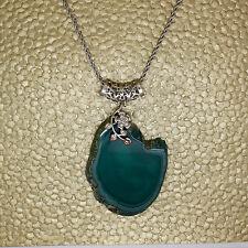 Agate Slice Necklace, Large Agate Slice Pendant Necklace, Geode Slice Necklace