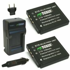 Wasabi Power Battery (2-Pack) and Charger for Kodak KLIC-7004