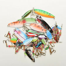 30 Metal Mixed Spinners Fishing Lures Pike Salmon Baits Bass Trout Fish Hooks ~