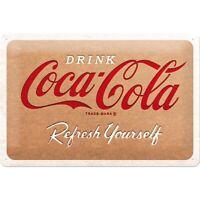 Coca Cola Cardboard Logo Nostalgie Blechschild 30 cm NEU