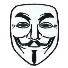 Vendetta Anonymous Mark Embroidery Retro Iron On Patch Guy Fawkes Face V Hacker