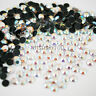 AB Crystal Hot Fix Glass Clear Rhinestones Iron On Gem Round Diamonds Flat Back