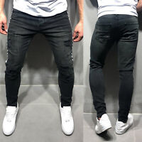 Men Skinny Stretchy Jeans Distressed Ripped Frayed Denim Slim Fit Pants Trousers