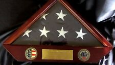 Us Army National Guard Flag In Wooden Case-Beautiful Condition