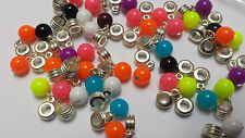12 Misto Perline a Sfera Dangle luminoso Fit Bracciale con Charm 10mm