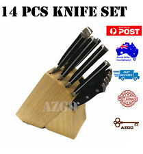 14 PCS Premium Knife Set Knives with Wooden Block Forge Construction RRP$199.00