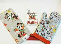 Mickey Mouse Minnie Winter Holiday Christmas 2 Dish Towels w Oven Mitt LOT OF 3