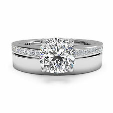 1.05 CT Natural Solitaire Diamond Ring Sets Solid Real 14K Gold Band Size N P L