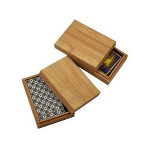 Bamboo Cards Storage Box Desktop Wooden Poker Playing Card Box Case Tarot Box