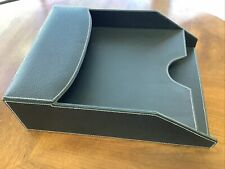 Black Double Letter Tray Faux Leather Desk Organizer 13 X 4 X 10 Nwt