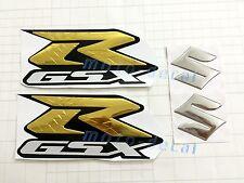Raised 3D Chrome Suzuki GSXR1000 GSXR750 GSX-R 600 Gold Sticker Tank Decal Bling