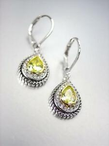 NEW 18kt White Gold Plated Cable Olive Green CZ Tear Drop Leverback Earrings