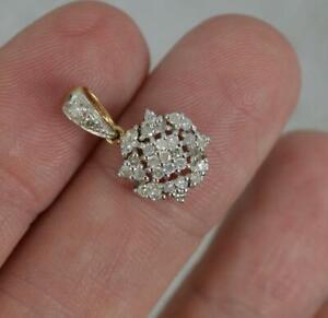 9 Carat Gold and 0.25 Carat Diamond Cluster Pendant
