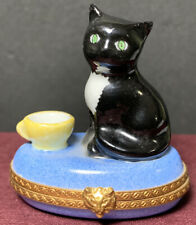 Limoges France Peint Main Cat Kitten Blue Pillow Porcelain Trinket Box Vintage