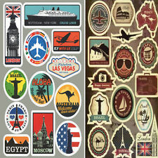 27 Retro Vintage Old Fashioned Style Luggage Suitcase Travel Stickers Stick On