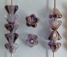 Flower Bell Purple 6mm Light Copper Amethyst 14215 Czech Glass Bead x 50