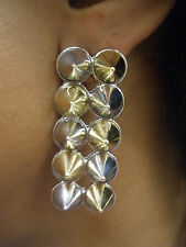 SILVER & GOLD 2 ROW SPIKED STUD EARRINGS