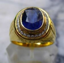 Men's 18K Solid Gold Natural Blue Sapphire Diamonds Ring