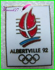 Pin's Jo Jeux Olympique Albertville Avec Anneaux et flamme #B4