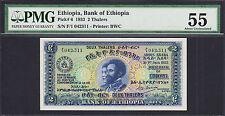 Ethiopia 2 Thalers 1933 Pick-6 Almost UNC PMG 55 Rare