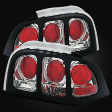 For 94-95 Ford Mustang Chrome Tail Lights with Black Cover Assembly Left/Right