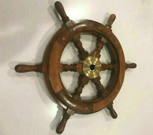 """Collectible Marine Nautical Boat Wooden Ship Wheel 18""""inch Steering Wall Decor"""