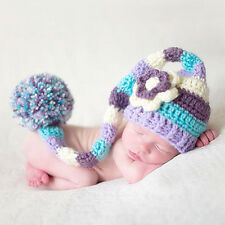 New Baby Boy Girl Crochet Beanie Flower Long Tail Hat For 0-6 Month Photo Props