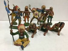 Elastolin Vintage Western Composition Toy Indians Lot Of 11