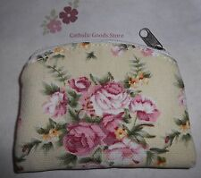 Rose Brocade Zippered Rosary or Chaplet Case